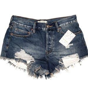 Free People Loving Good Vibrations Cut Off Shorts